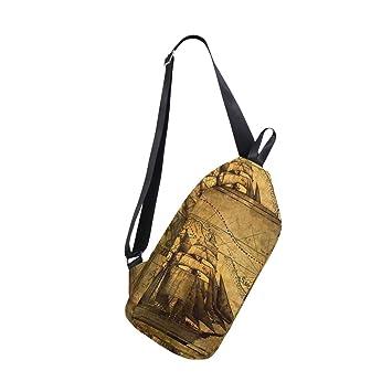 0c2fd1f25afc Amazon.com   Nautical Vintage Sailing Pirate Ship Theme Sling Bag ...