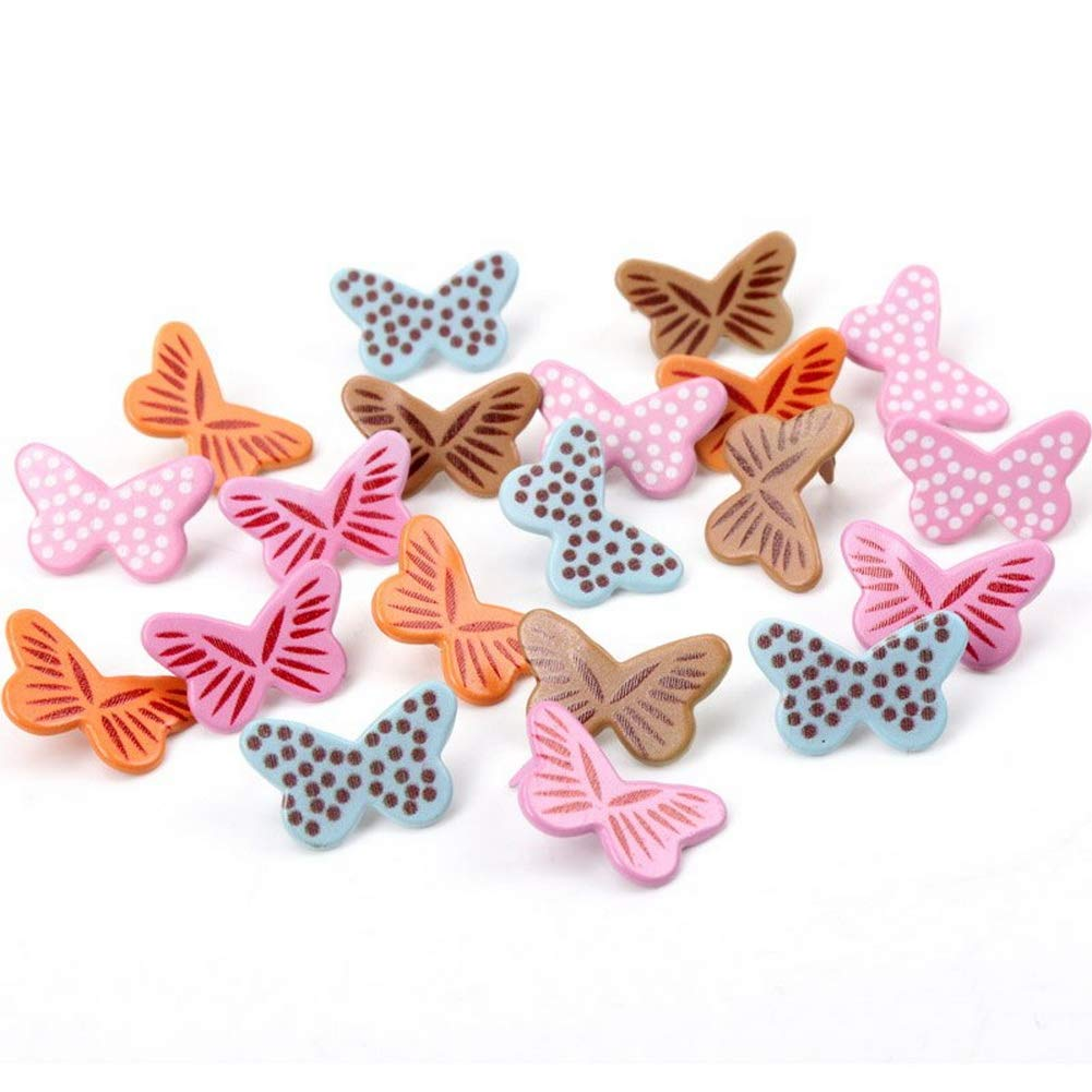 Pastel Brads Assorted Colored MixStuds Spikes for Clothes Round Square Brads Scrapbook Scrapbooking Embellishment Fastener Making and DIY Craft #7 12.5mm 10pcs