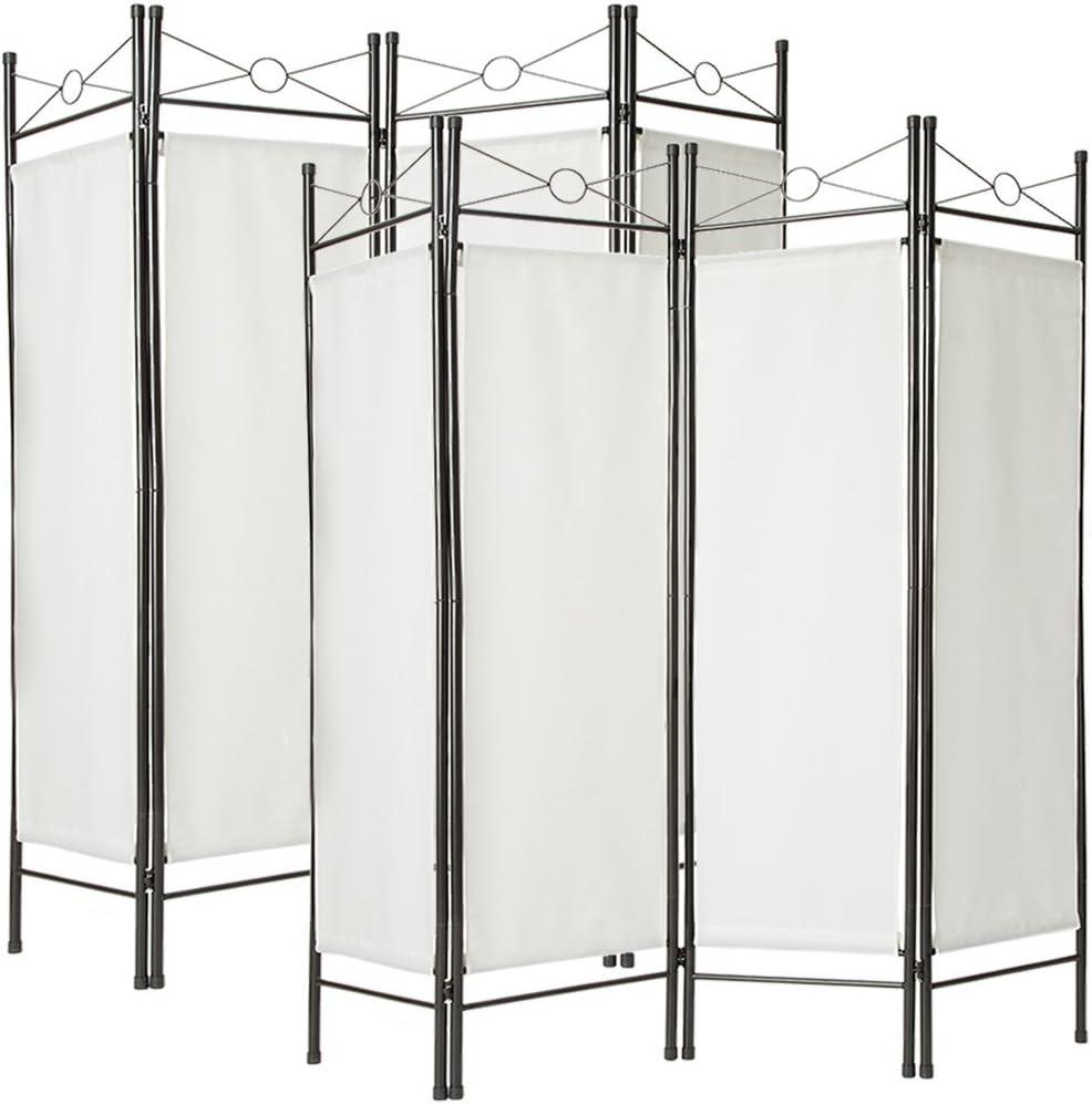 TecTake Biombos diseño 4-Panel Tela Divisor habitación Separador separación biombo 180x160cm Varias cantidades - (2X Blanco | no. 401830): Amazon.es: Hogar