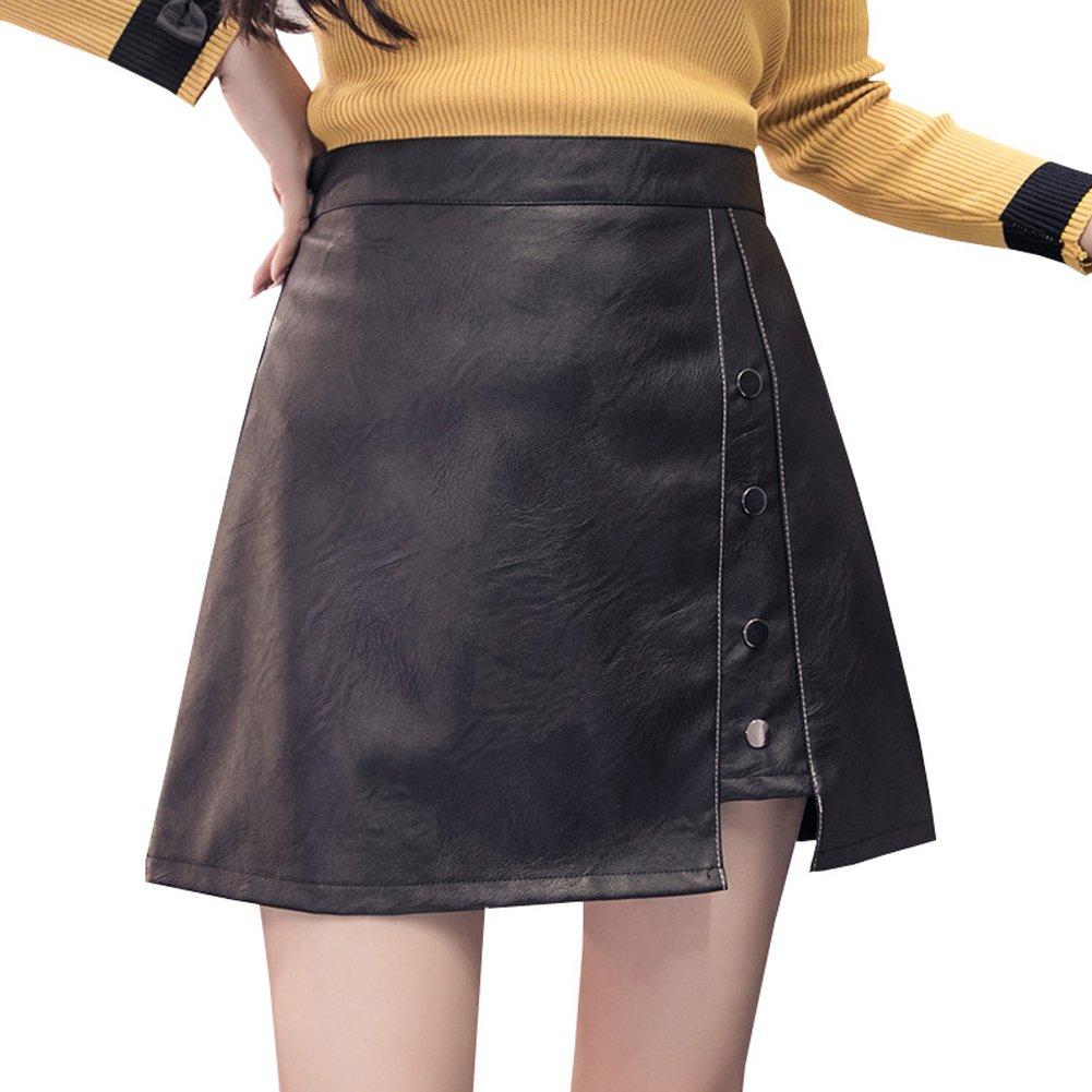 WUYAN93 PU Leather Skirt Black High Waist Fall/Winter Package Hips Irregular Hem Girls Short Dress Slim Mini Skirt (L-3, black)