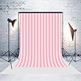 5ft(W) x7(H) Pink Stripes Backgrounds Baby Shower Wedding Birthday Party Decorations Microfiber Photo Backdrop Studio Props