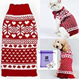Bolbove Pet Red Snowflake Turtleneck Sweater for Small Dogs & Cats Knitwear (XX-Small)