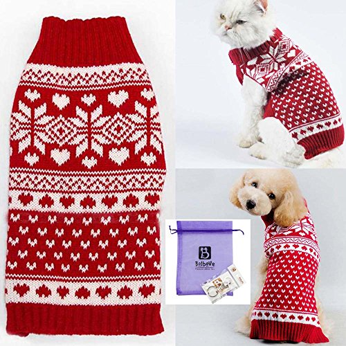 Cats In Christmas Costumes (Bolbove Pet Red Snowflake Turtleneck Sweater for Small Dogs & Cats Knitwear (Small))