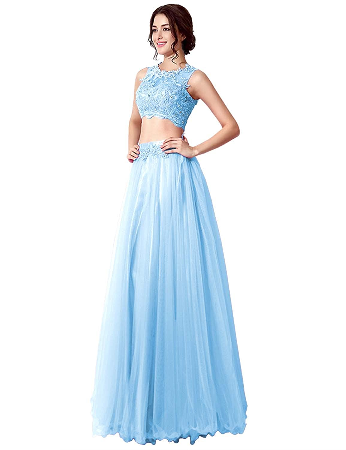 Clearbridal Women's Vintage Lace and Tulle Prom Dress Two Piece Formal Evening Gown with Sequines Crystal Beaded SD205