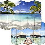 Paravent / cloison de séparation M68, 6 pans, 240x180cm, motif plage