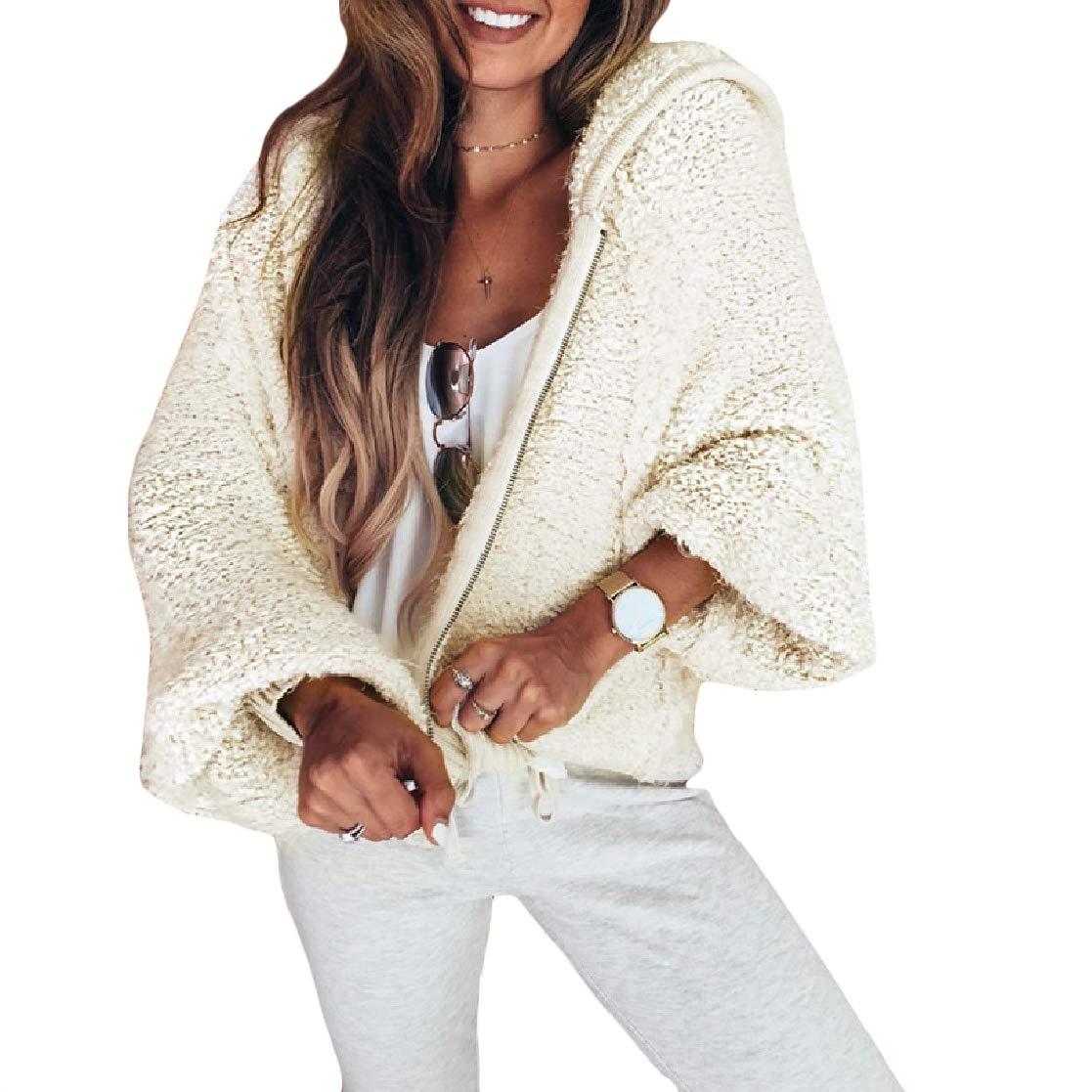 YUNY Womens Long-Sleeve Oversized Casual Hood Velvet Loose Coat Jacket Pattern1 L