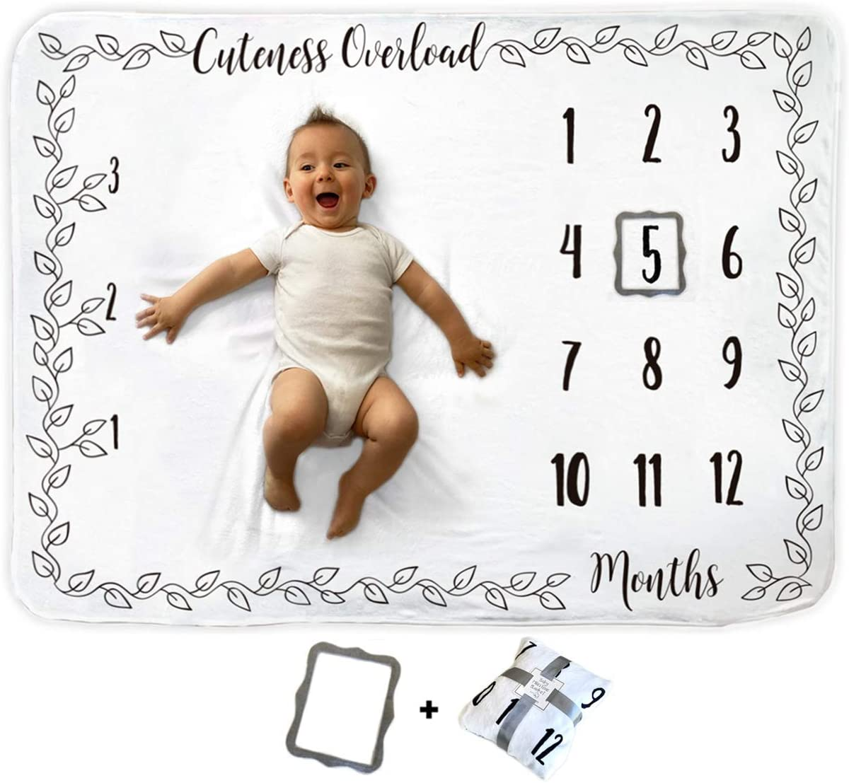 Baby Monthly Milestone Blanket | Includes 6 Holiday Features and Picture Frame | 1 to 12 Months | Premium Extra Soft Fleece | Best Photography Backdrop Photo Prop for Newborn Boy & Girl
