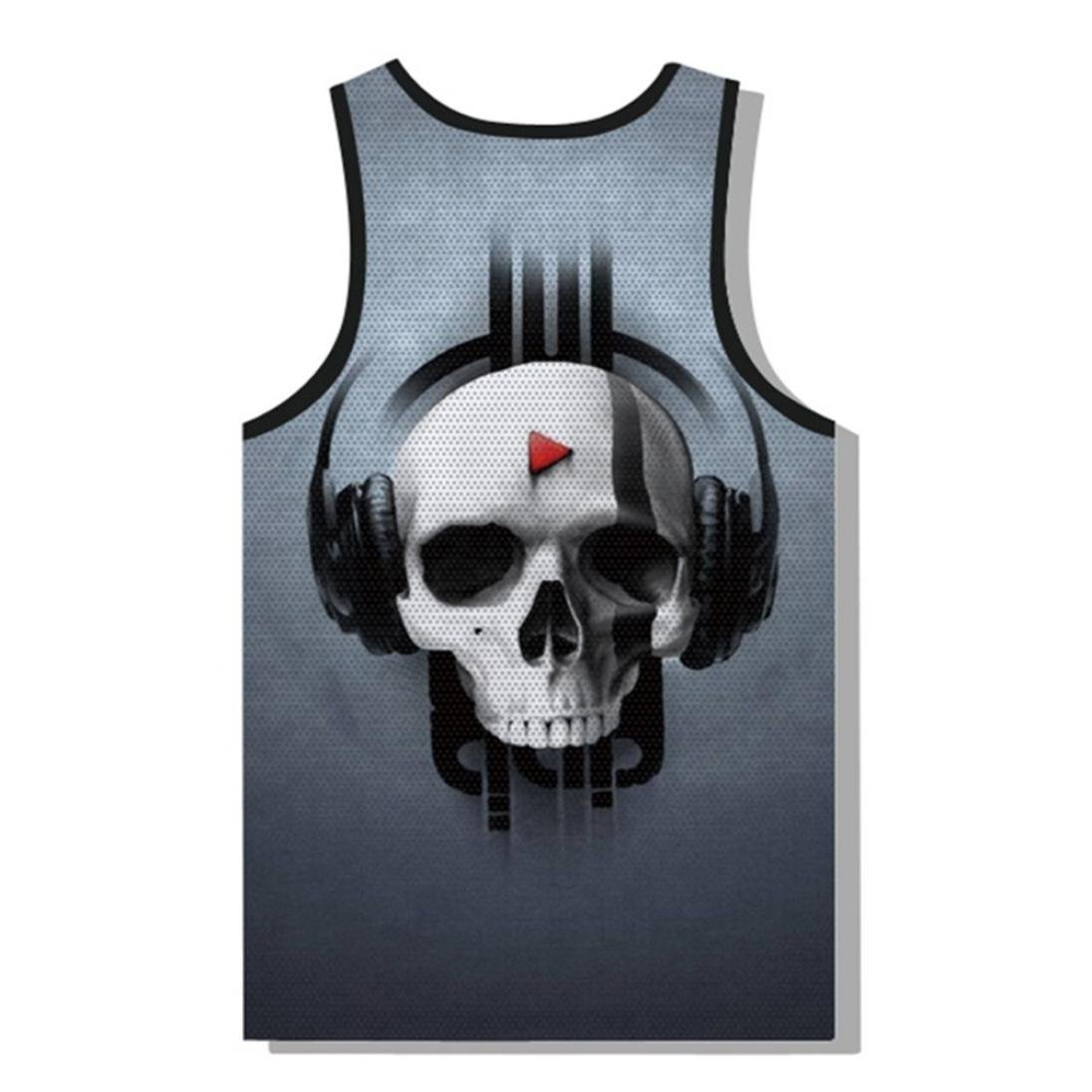 51f36e650bb95 Amazon.com  vermers Clearance Sale Men s Fashion Skull Tank Tops Summer  Casual 3D Printed Muscle Sleeveless Vest  Clothing