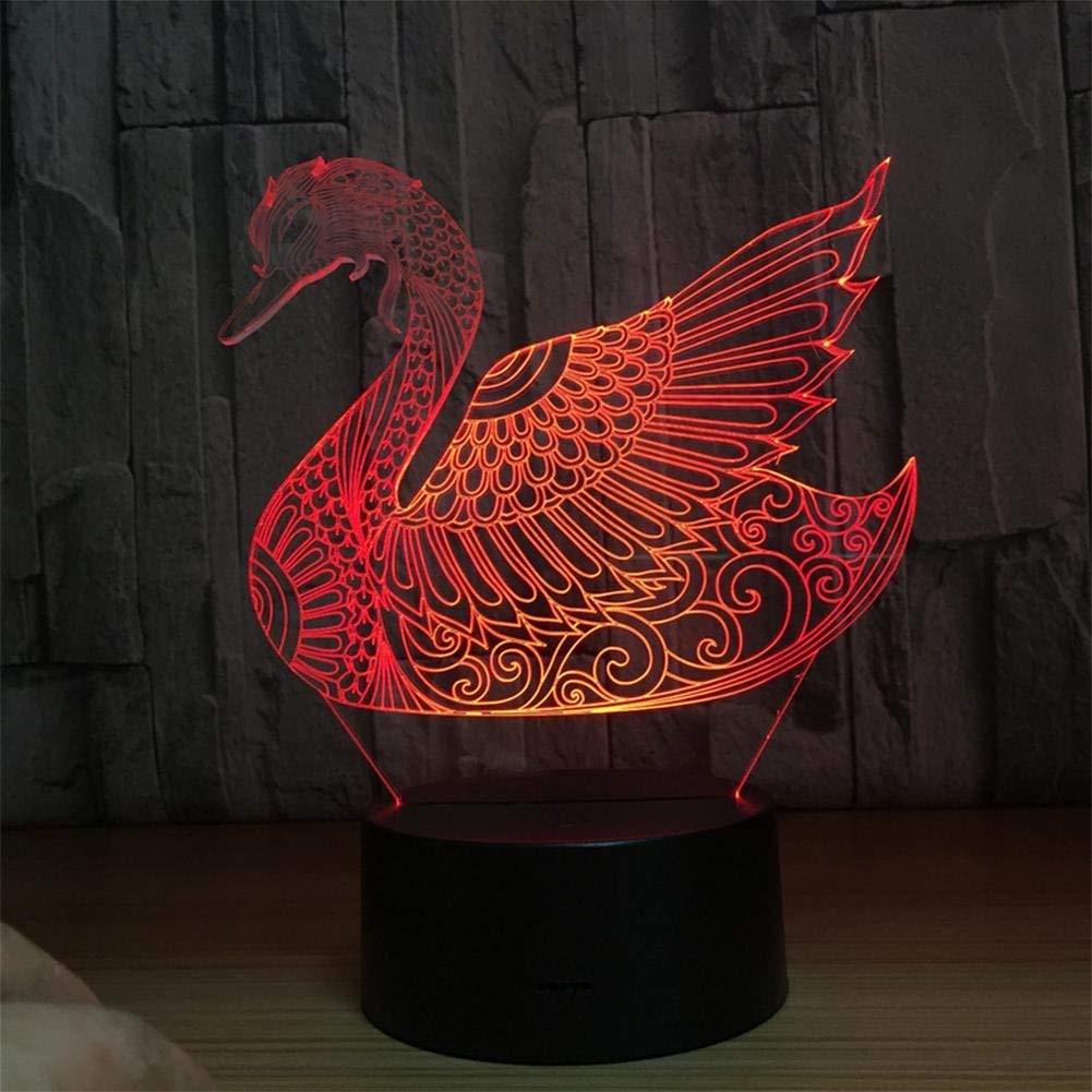 Remote 3D Nachtlicht Bunte 3D Schwan Fernbedienung Touch Acryl Sieben Farbverlauf LED Tischlampe Nachtlicht, Fernbedienung LED-Lichtquellen (Farbe   Remote)