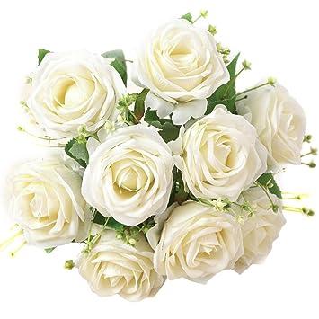 XONOR Rosas de Seda Artificial Flores Falso Nupcial Dama de Honor Ramo de Flores para la