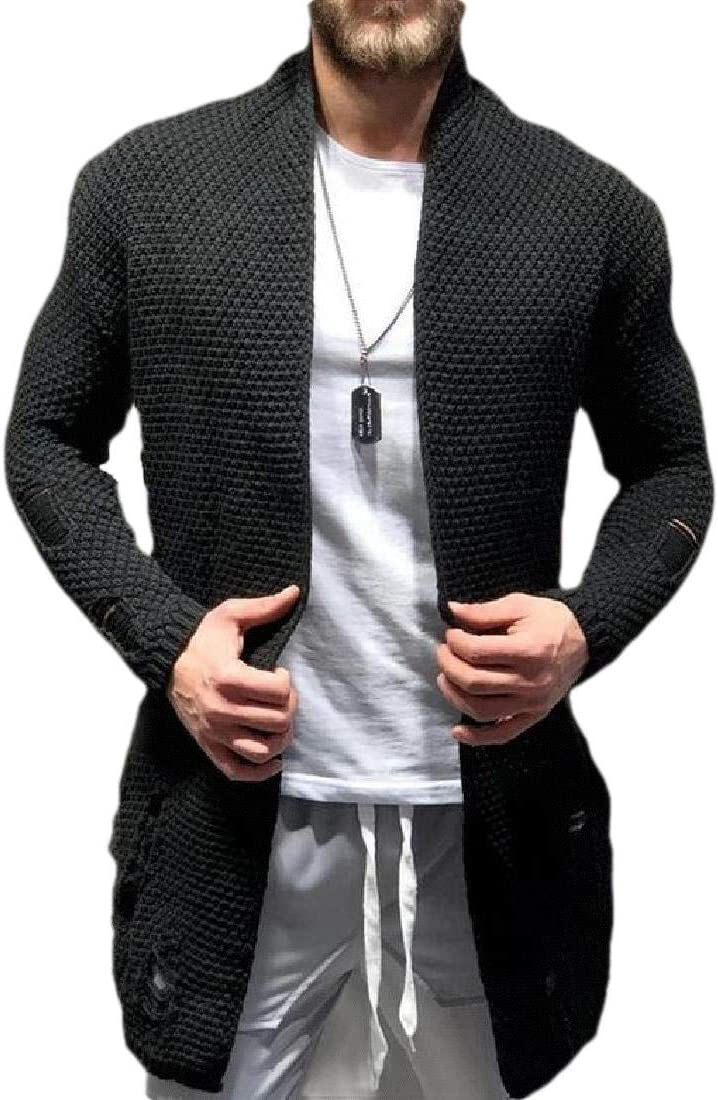 GAGA Mens Knitwear Destroyed Ripped Hole Open Front Pockets Cardigan Sweater