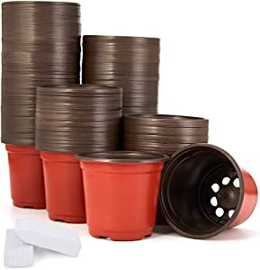 JERIA 200-Pack 4 Inch Plastic Plant Nursery Pots Come with 200 Pcs Plant Labels, Seedling Flower Plant Container and Seed Starting Pots