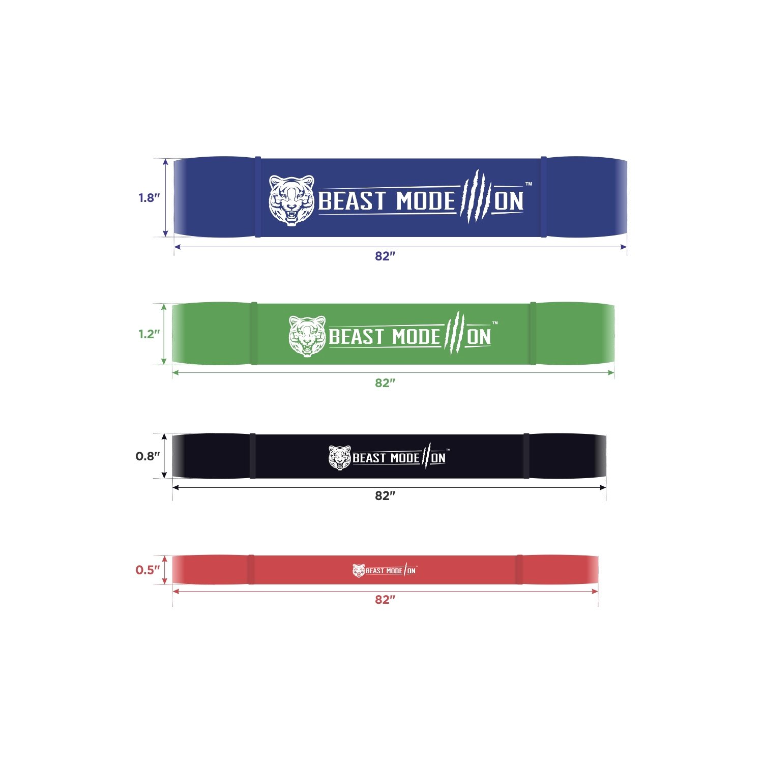 Resistance Bands for Pull ups Stretching Resistance Exercise BEAST MODE ON Premium Pull up Bands Single Band or Set of 4 Bands Pull up Assistance Bands Free e-Guide Included