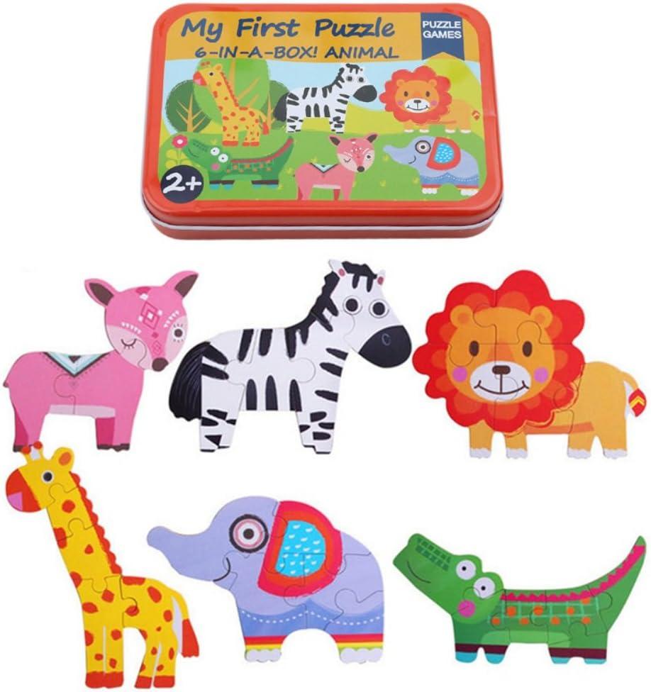 Blaward Giocattoli per Bambini Puzzle di Legno Cartone Animato Puzzle di Animali Primi Giocattoli Educativi I Regali 6 in 1 Scatola di Ferro per Bambini
