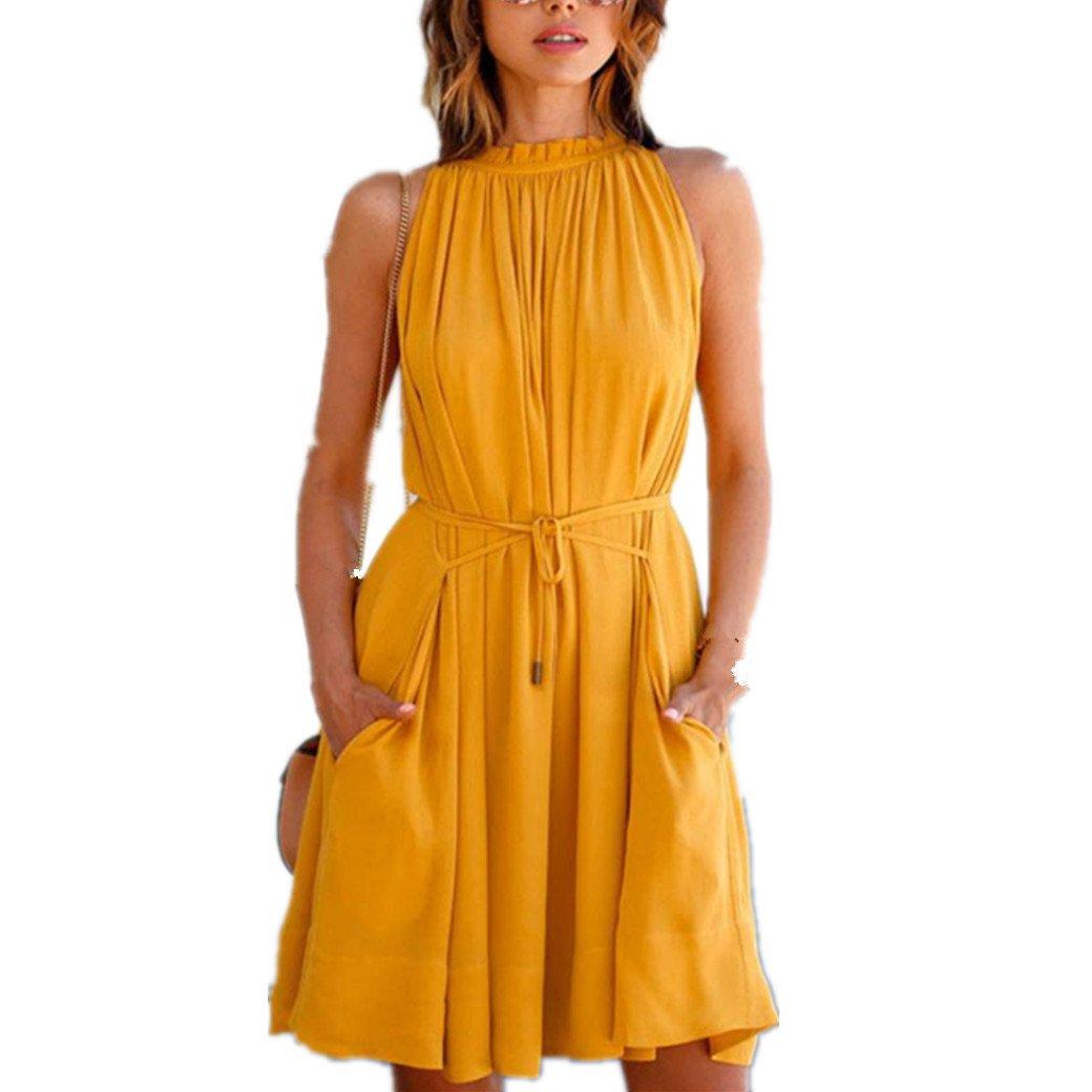 Kleid Damen,Bekleidung Longra Sommer Kleid Frauen Ärmellos Parteikleid Strandkleider
