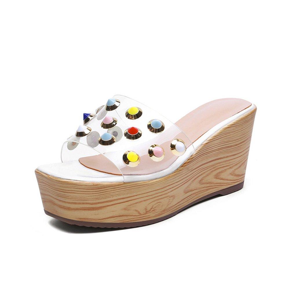 PENGFEI Pantofola Zapatillas Verano De Las Mujeres Fondo Grueso Diamante De Imitación Cuña Playa De Arena Altura del Tacón 4.5 CM, Tamaño 34-39 (Color : 1#, Tamaño : EU35/UK4/US5.5/225) EU35/UK4/US5.5/225|1#