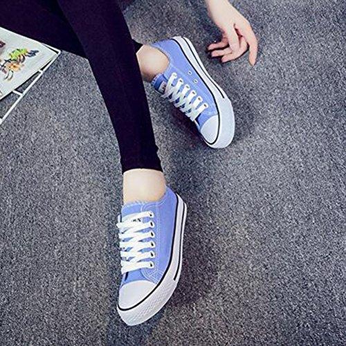 Summerwhisper Damesschoenen Klassieke Lage Top Skateboard Sneakers Veterschoenen Plimsoll Canvas Schoenen Lichtblauw
