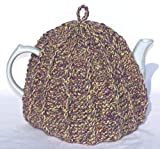 Knit Tea Cozy Cosy Handmade Washable Lavender and Green Tones