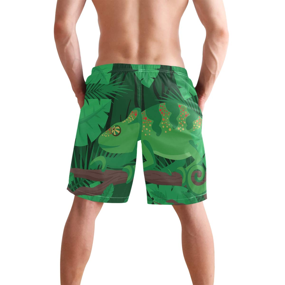 Fashion Chameleon with Forest Shorts Mens Swim Trunks Boardshorts Quick Dry Swimwear with Mesh Lining//Pockets