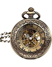 Antique Phoenix and Dragon Skeleton Pocket Watch Mens Mechanical Chain Half Hunter Hand Wind