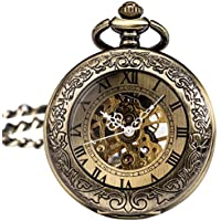 SIBOSUN Antique Phoenix and Dragon Skeleton Pocket Watch Mens Mechanical Chain Half Hunter Hand Wind