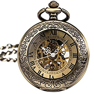 SIBOSUN Magnifier Pocket Watch Mechanical Skeleton Antique Men Bronze Roman Numerals Hand Wind