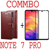 like it grab it Redmi Note 7 / Note7 (Combo Offer) Leather Dairy Flip Case Stand with Magnetic Closure & Card Holder Cover + 6D Curved Tempered Glass Screen Protector (Brown Flip)