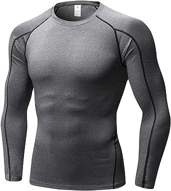 Hombres Apretado Aptitud Entrenamiento Deportivo Camiseta Fuerza Elástica Secado Rápido Camisa de Manga Larga Gris L: Amazon.es: Ropa y accesorios