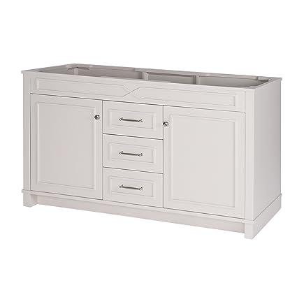 Incroyable MAYKKE Abigail 60u0026quot; Bathroom Vanity Cabinet In Birch Wood French Grey  Finish | Double Floor
