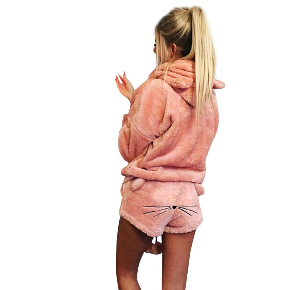 Littleice Women Sleepwear,Winter Warm Cute Cat Pajamas Shorts + Long Sleeve Hoodie Two Piece Solid Suits (Pink, M)