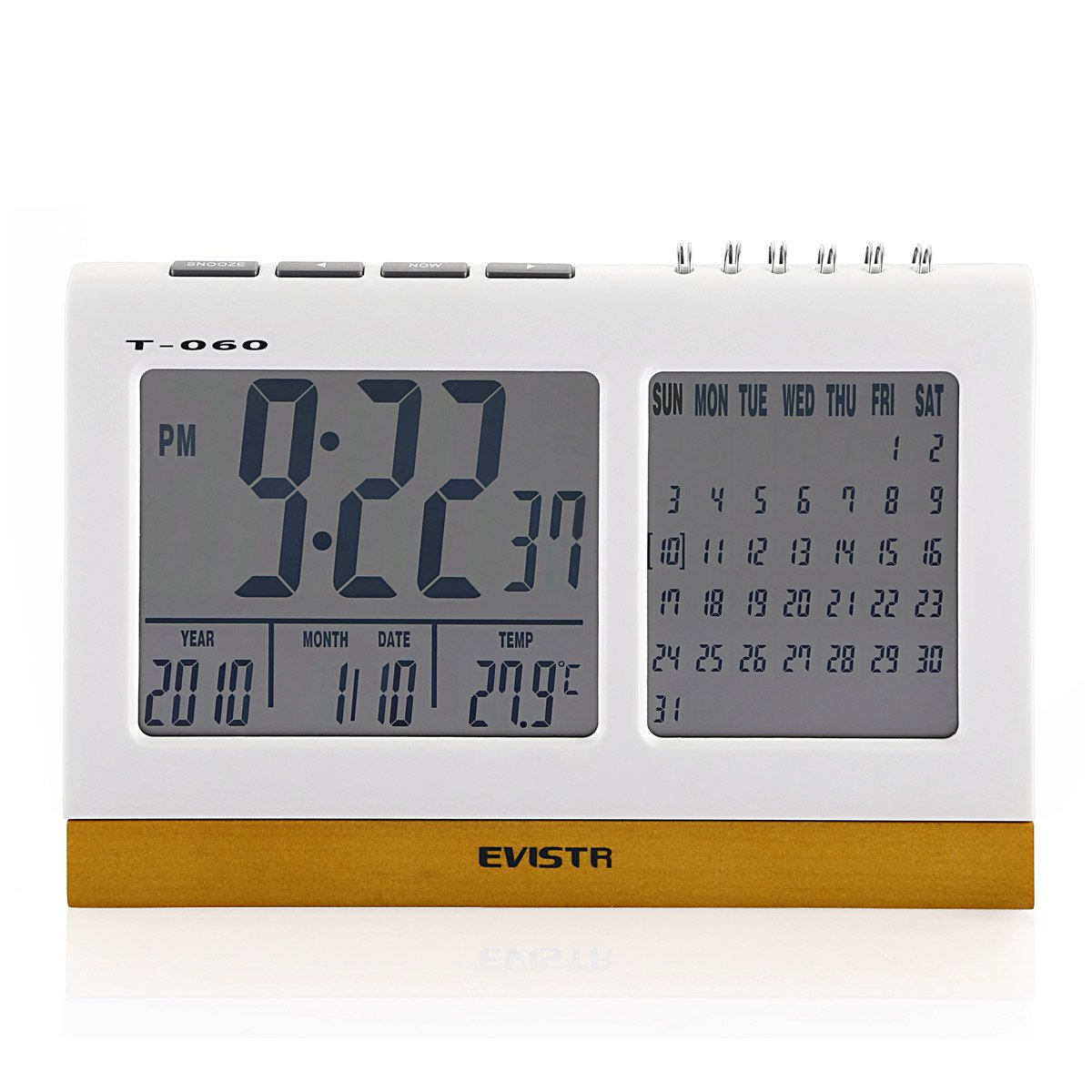Evistr T-060 Desk Digital Alarm Clock with Calendar & Temperature ...
