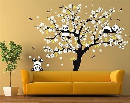 Huge Removable Vinyl Black Tree White Peach Blossom Flowers Wall ...
