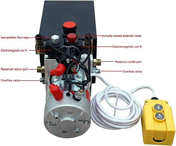 Amazon.com: New 12V Hydraulic Pump /Hydraulic power unit/Electric dump  trailer power unit (Double Acting 6 Quart ): Home ImprovementAmazon.com