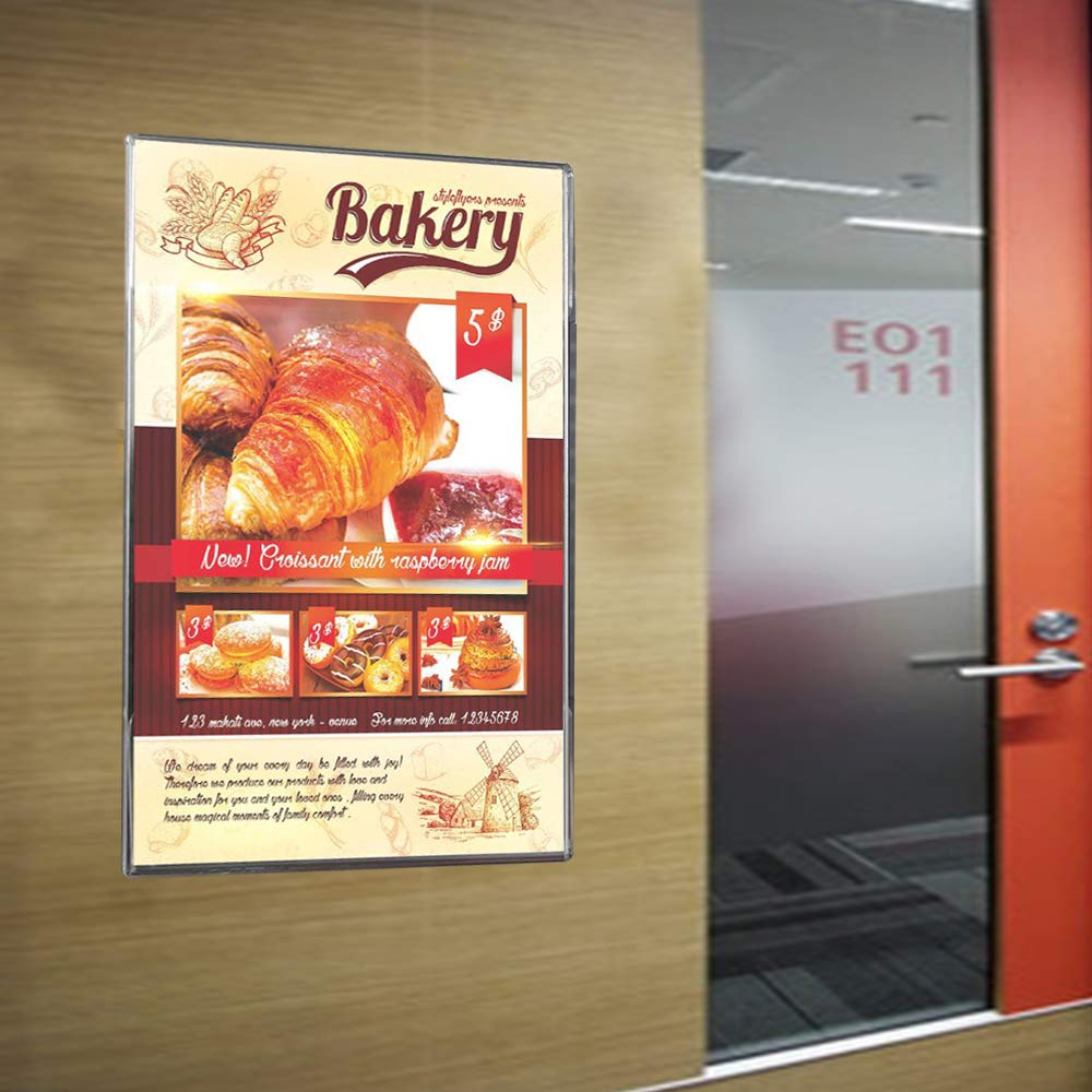 3 Wall Mount Sign Holder 8.5 x 11 Acrylic Clear Frames with 3M Tape Adhesive for Home 3 Pack Office Store Restaurant