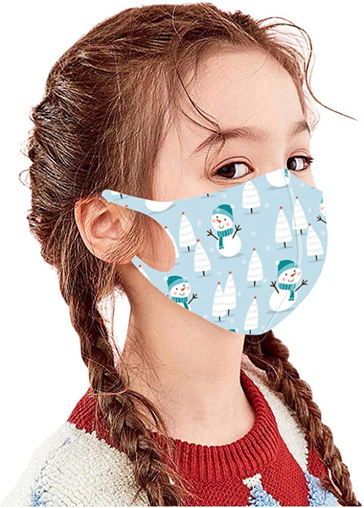Christmas Kids Face Covering Festival Print Cute Ice Silk Breathable Boys Girls Xmas Party Outdoor Mouth Covering