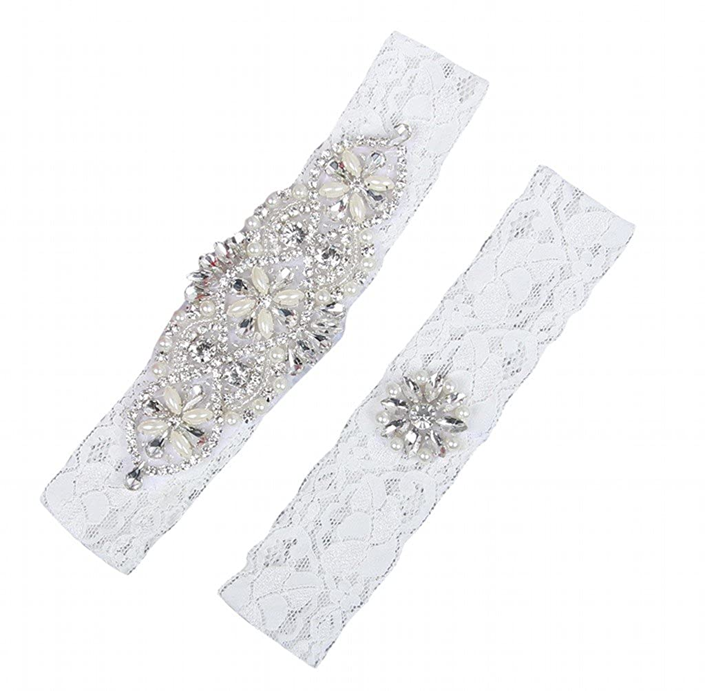 NYARER Wedding Accessories Bridal Garter Ivory Lace with Rhinestone NYD00015