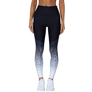 ca650471be Minisoya Women Ombre Patchwork Sports Yoga Pants Workout Trouser High Waist  Running Fitness Elastic Pencil Leggings