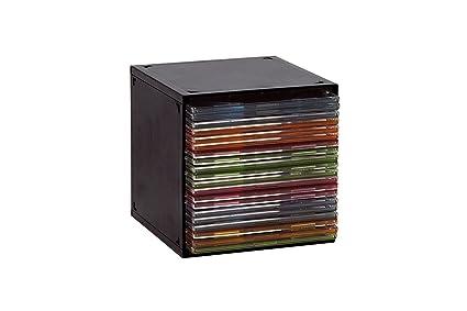 CUBO DE PLASTICO NEGRO PARA ARCHIVAR CD Y DOBLE CD/Ref.1470