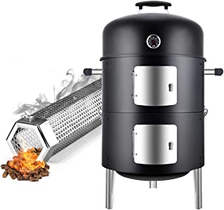 Realcook 17inch Charcoal Smoker Grill with Pellet Smoker Tube