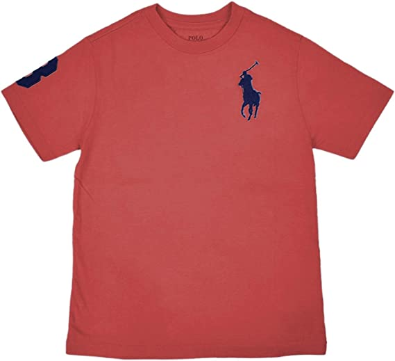 Polo Ralph Lauren Boys Big Pony Short Sleeve Crewneck Tee Shirt Carnation Red