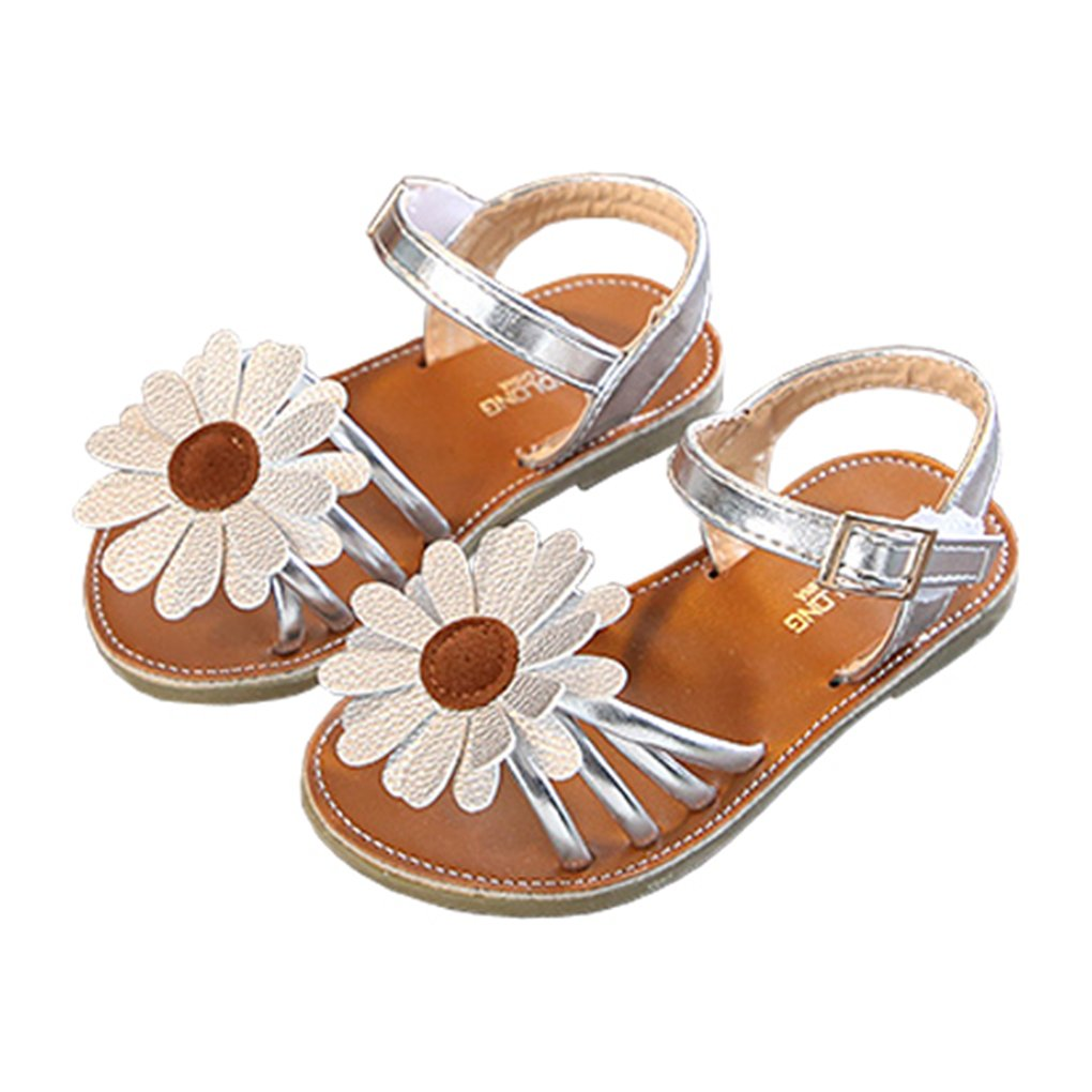 lakiolins Toddler Girls Summer Beach Sunflowers Slingback Flat Sandals Princess Dress Shoe Silver Size 25