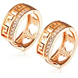 MR.TIE Fashion Jewelry Gold Plated Base Rhinestone Crystal Hoop Earring