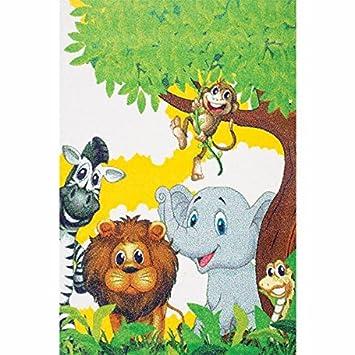 Kinderteppich Spielteppich Kinderzimmer Teppich Dschungel Zootiere