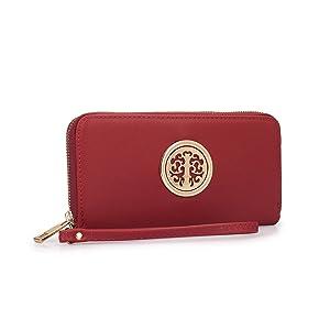 Dasein Fashion Collection Zip Around Emblem Wallet Purse - Red