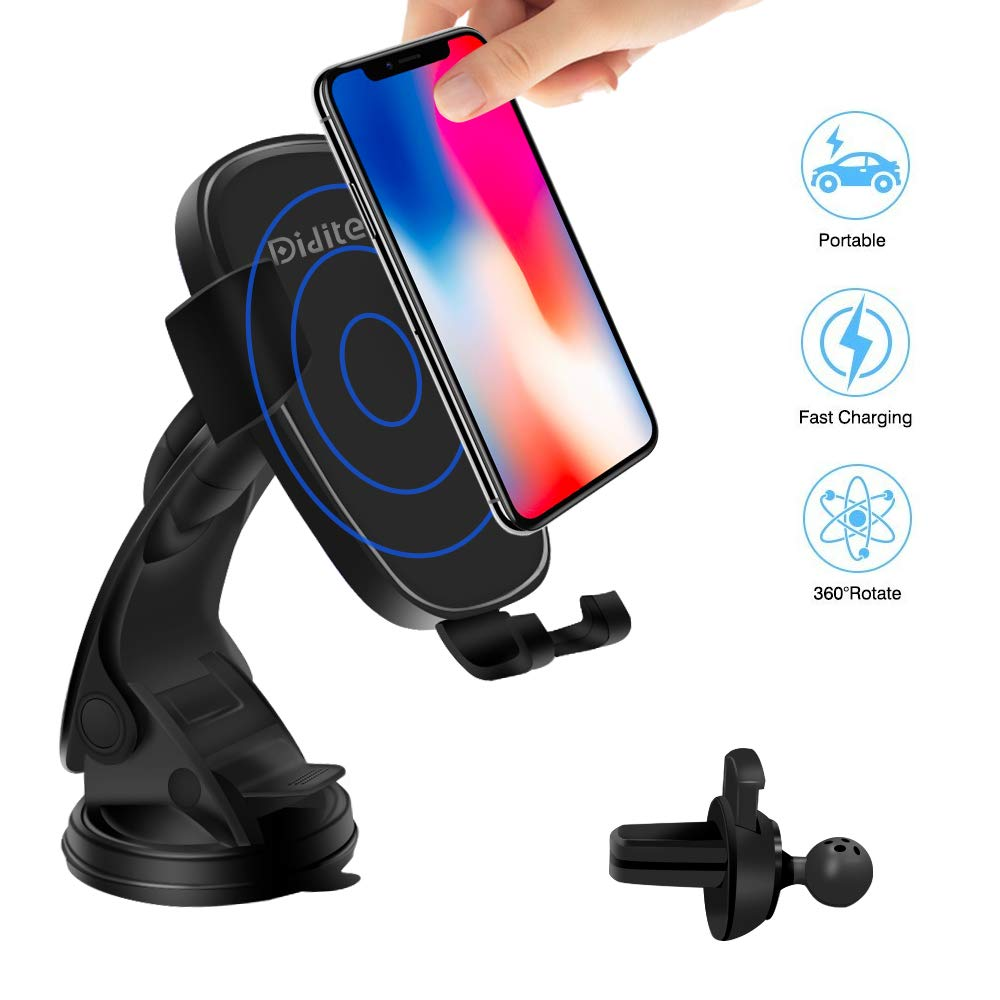 Wireless Car Charger Mount, Wireless Charge Car Phone Holder, Japanese Design Qi Fast Charge Phone Mount for Samsung Galaxy S9 Plus S8 Edge Note8, Standard Charge for iPhone X 8 (Black)