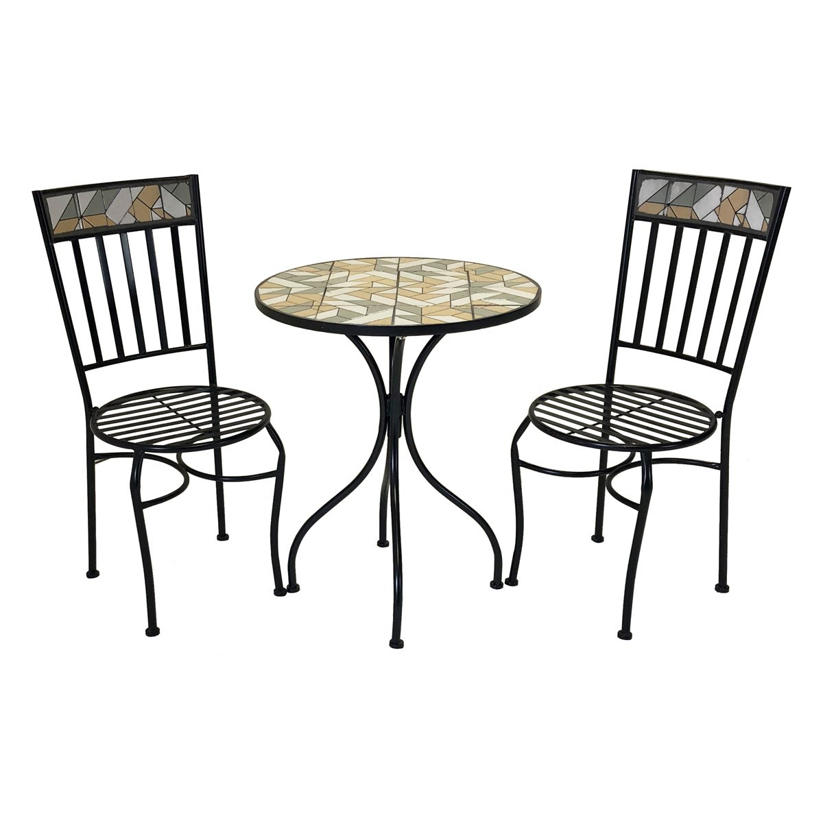 Charles Bentley 3 Piece Geometric Mosaic Bistro Set