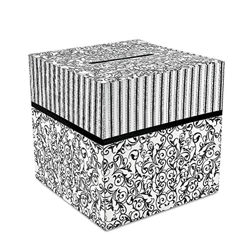Fun Express - Black & White Design Card Box for Wedding - Party Supplies - Containers & Boxes - Paper Boxes - Wedding - 1 (Stripes Reception Card)