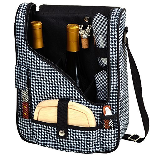Picnic at Ascot Wine and Cheese Cooler Bag Equipped for 2 with Glasses, Napkins, Cutting Board, Corkscrew , etc.  - Houndstooth (Wine And Cheese Sets)