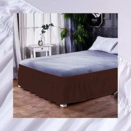 PinShang Simple Solid Color Elastic Trimmed Ruffle Comfortable Bed Skirt Dark Brown 135X200+40