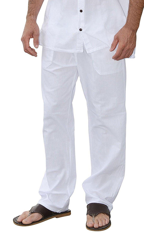 Men Casual Beach Trousers Cotton Elastic Waistband Summer Pants (White, X-Large)